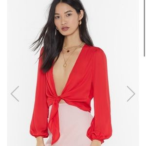 Nasty Gal Red Tie-Wrap Top